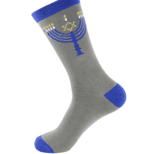 A pair of grey socks with Chanukah menorah image