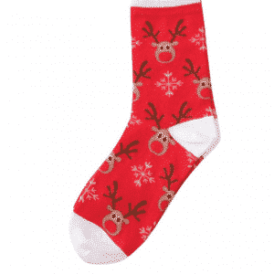 A pair of red socks with reindeer pattern