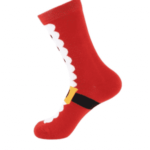 A pair of red socks with Santa's boot and buckle print