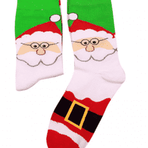 A pair of socks with Santa's face and costume print