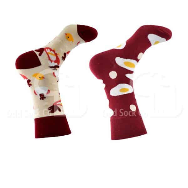 Chicken And Egg Themed Socks Right View Odd Sock Co