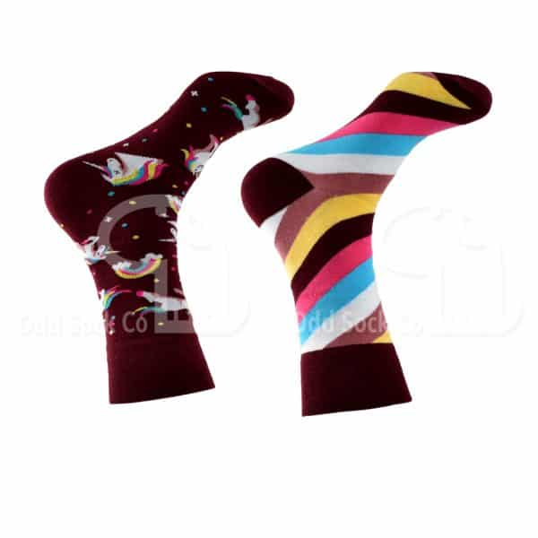 Unicorns And Rainbows Themed Socks Right View Odd Sock Co