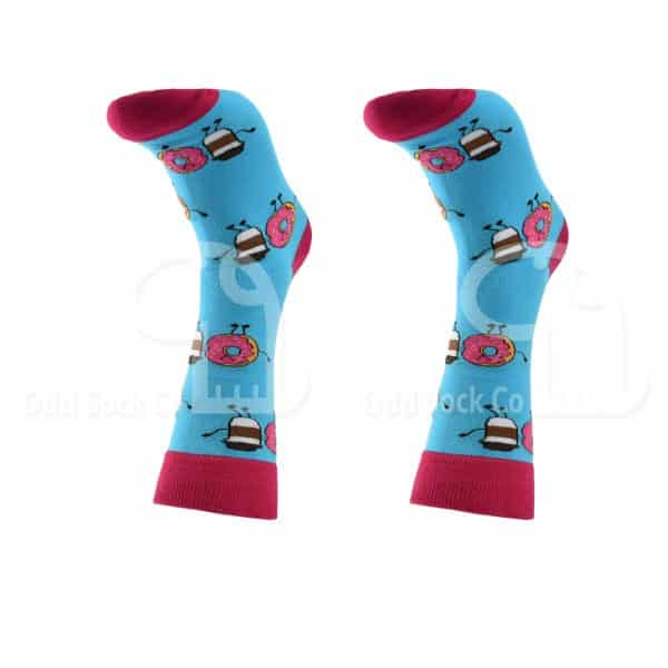Coffee And Donut Themed Socks Odd Sock Co Front View